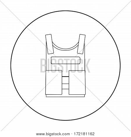 Army bulletproof vest icon in outline style isolated on white background. Military and army symbol vector illustration