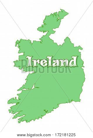 Map of Ireland. Green Ireland map isolated on white background. Map of Ireland country. High detailed silhouette illustration. Vector illustration