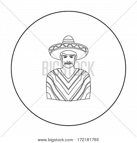 Mexican man in sombrero and poncho icon in outline style isolated on white background. Mexico country symbol vector illustration.