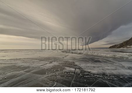 Clouds on the lake Baikal in winter