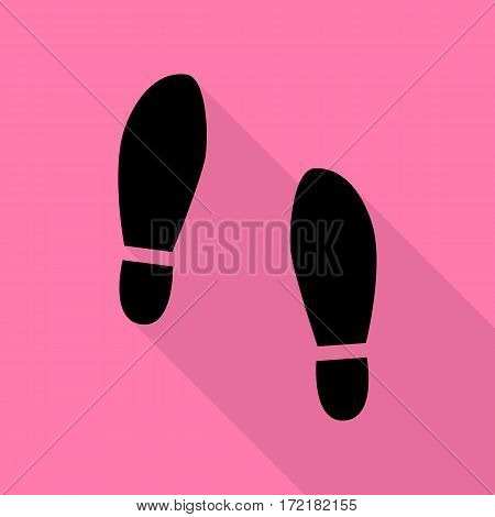 Imprint soles shoes sign. Black icon with flat style shadow path on pink background.