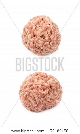 Ball of ground minced beef meat isolated over the white background, set of two different foreshortenings
