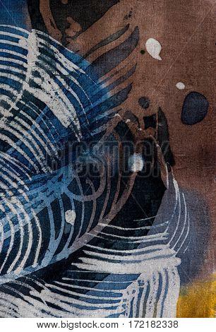 Feathers, Hot Batik, Background Texture, Handmade On Silk, Abstract Surrealism Art