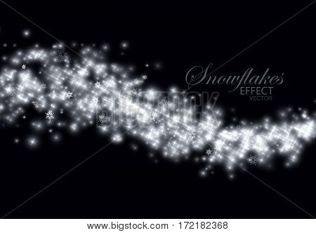 Glittering frosty stream of snowflakes, stars and glitters. Abstract winter vector illustration of snowy glittering stream. Holiday decorative ornament for design. Light glowing burst effect