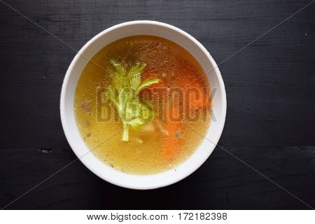 Home-made  vegetable soup, in a white soup cup. Vegetarian Food Healthy food