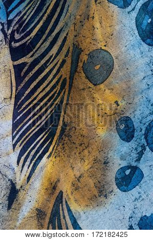 Feather And Drops, Hot Batik, Background Texture, Handmade On Silk, Abstract Surrealism Art