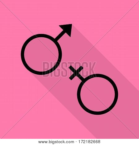 Sex symbol sign. Black icon with flat style shadow path on pink background.