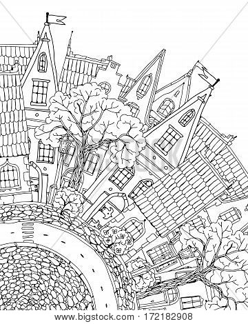 Pattern for coloring book with artistically houses. Magic City with Fairy tale houses. high detailed. T-shirt print. Album cover. Coloring book page for adults. Black and white in vector.