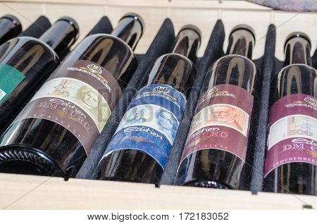 SOLINGEN NRW GERMANY - JULY 15 2015: Old wine bottles with different labels with Euro Banknote motif.