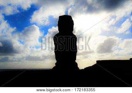Silhouette of Moai at Ahu Tahai in Hanga Roa in Rapa Nui Easter Island Chile South America