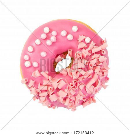 Strawberry Donut With Pink Glazes, Pink Chocolate Chips And Pearl Beads