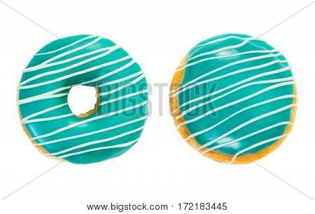 Two Donuts Turquoise Color With White Stripes