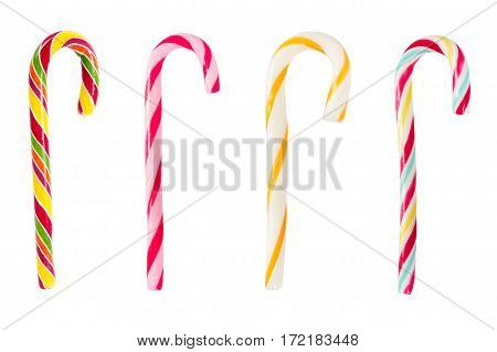 Set Of Christmas Striped Candy Canes