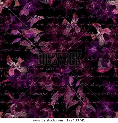 Night mysterious flowers with hand written letter text. Black background. Seamless pattern