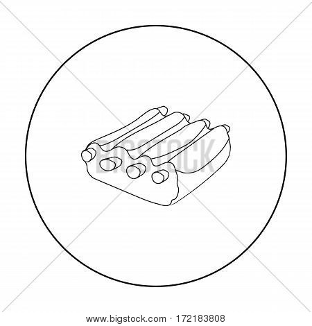 Pork ribs icon in outline style isolated on white background. Meats symbol stock vector illustration