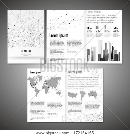 Vector business brochure template. Modern idea for flyer, book, booklet, brochure and leaflet design. Editable graphic layout with copyspace in grey, white and black colors