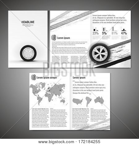 Vector tyre brochure template. Modern idea for flyer, book, booklet, brochure and leaflet design. Editable graphic layout with copyspace in grey, white and black colors