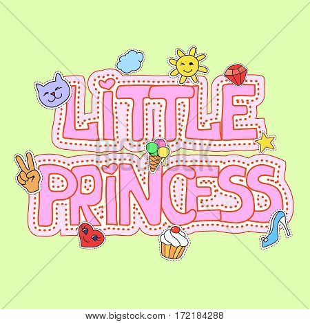 Little princess fashion girlish illustration fot t-shirt print, pretty design with patches