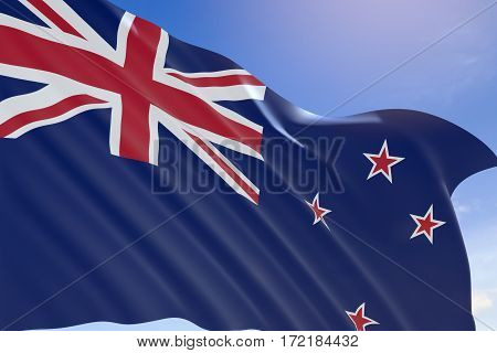 3D Rendering Of New Zealand Flag Waving On Blue Sky Background.