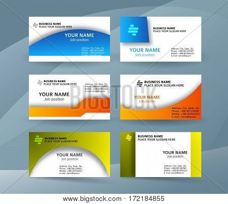 Set Template Business Card Layout Sided02