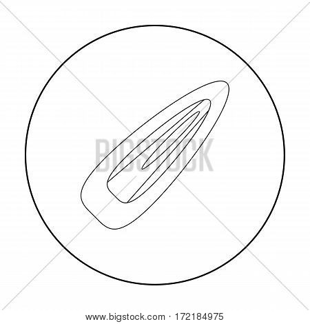 Hairpin icon in outline style isolated on white background. Make up symbol vector illustration.