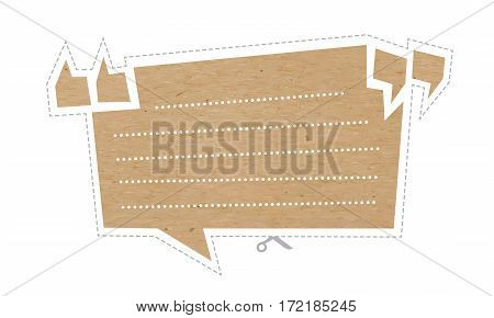 Vector illustration Set of speech bubbles cut out of craft paper or cardboard with quotation marks and space for text. Stickers or reminder notes isolated on white.