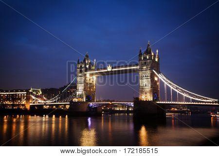 night cityscape with Tower Bridge, London, UK