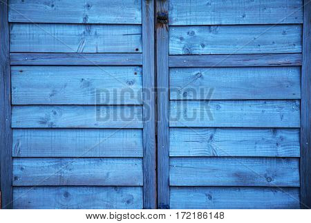 Blue painted wooden planks - rough vintage background