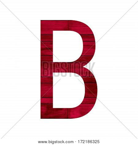 English alphabet with red wood texture isolated on white background.