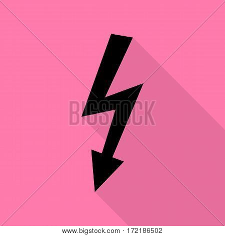 High voltage danger sign. Black icon with flat style shadow path on pink background.