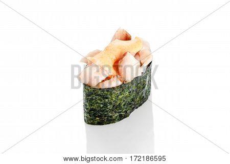Gunkan Sushi Lakedra sharp on a white background