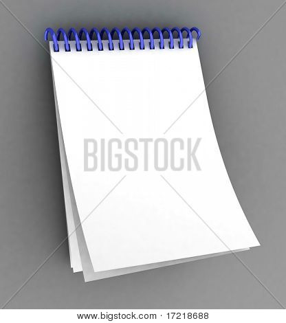 Blank spiral notebook on a grey background