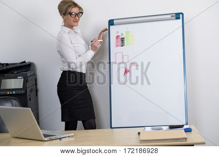 Sales draws a graph on the board for inscriptions at the office