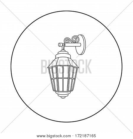 Street lantern icon in outline style isolated on white background. Light source symbol vector illustration