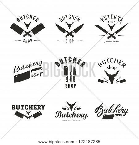 Big set of butchery logo templates. Butchery labels with sample text. Butchery design elements and farm animals silhouettes for groceries, meat stores, packaging and advertising