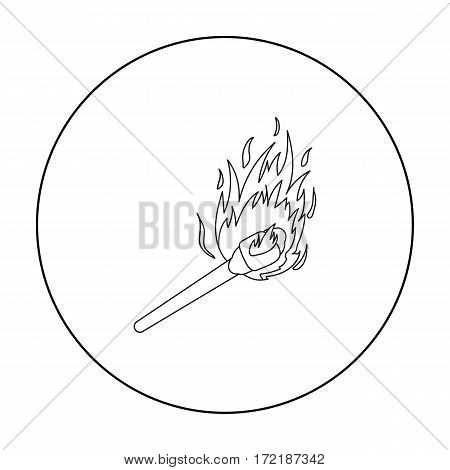 Match icon in outline style isolated on white background. Light source symbol vector illustration