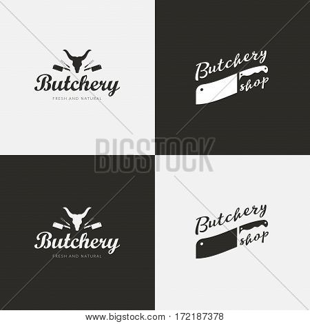 Set of butchery logo templates. Butchery labels with sample text. Butchery design elements and farm animals silhouettes for groceries, meat stores, packaging and advertising