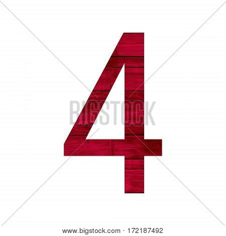 Number 4 (four) with red wood texture background.