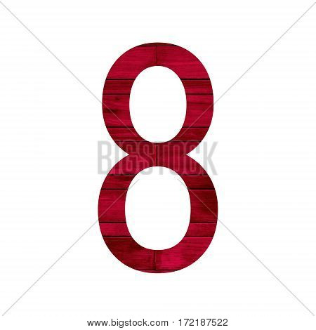 Number 8 (eight) with red wood texture background.