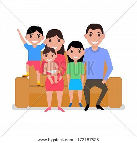 Vector illustration cartoon happy family sitting on sofa. Isolated white background. Father, mother, son, daughter and baby sitting on couch. Flat style. Parents and children on the divan.