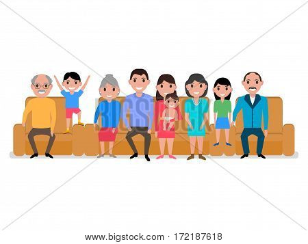 Vector illustration cartoon big happy family on the sofa and armchair. Isolated white background. Grandparents, parents, girl and boy on the couch. People sitting together on the divan. Flat style.