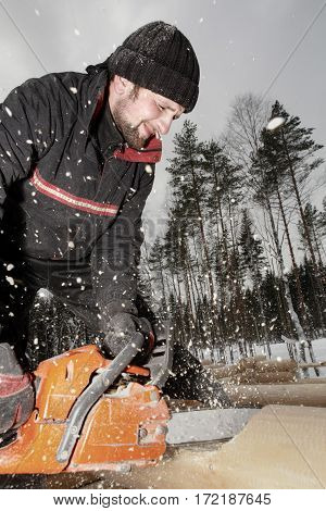 Leningrad Region Russia - February 2 2010: Construction worker trimming a log with a chainsaw the sawdust flying.