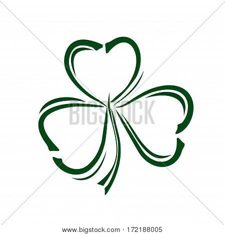 Vector green clover icon.  Shamrock clover.  Clover doodle style icon.  Vector illustration
