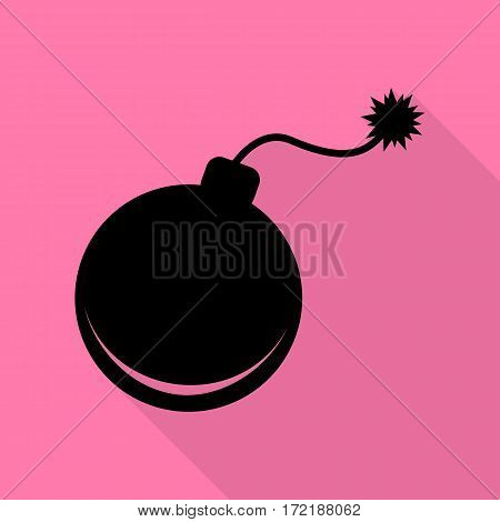 Bomb sign illustration. Black icon with flat style shadow path on pink background.