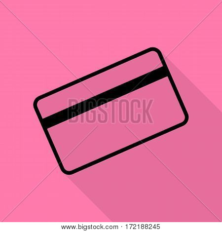 Credit card symbol for download. Black icon with flat style shadow path on pink background.