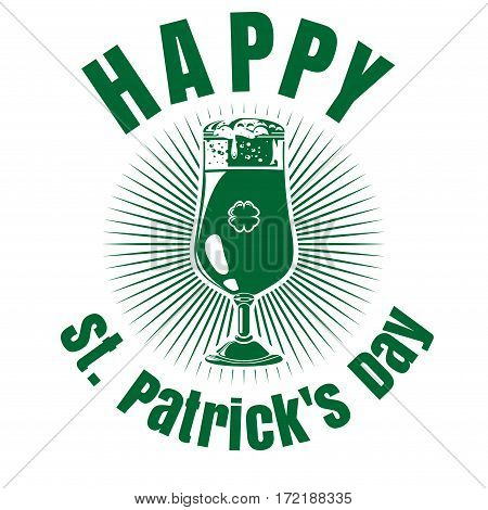 Glass of beer with the image of clover. St. Patrick's Day celebration symbol. Vector illustration isolated on white background