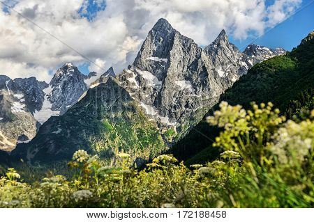 majestic rocky steep mountains Dombai in the North Caucasus
