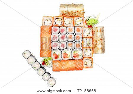Set of rolls, roll with salmon, Philadelphia roll, tempura, california roll, roll with seaweed on the white background