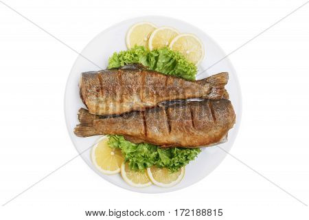 fried whole trout traditional Georgian dish white background top view