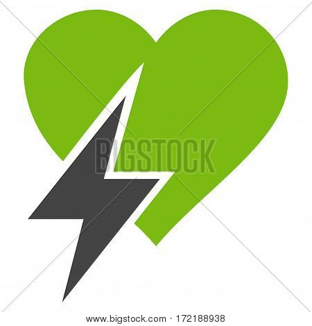 Heart Shock flat icon. Vector bicolor light green and gray symbol. Pictogram is isolated on a white background. Trendy flat style illustration for web site design logo ads apps user interface.